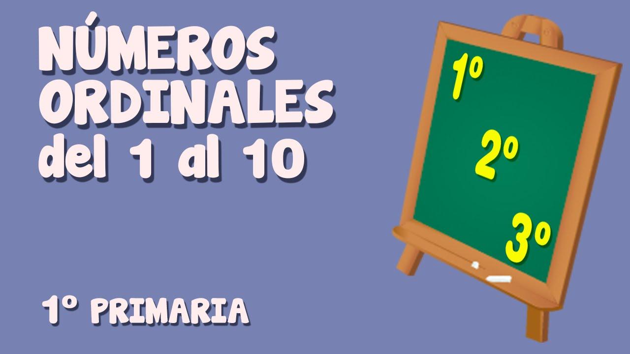 Números ordinales del 1 al 10 para niños de Primaria