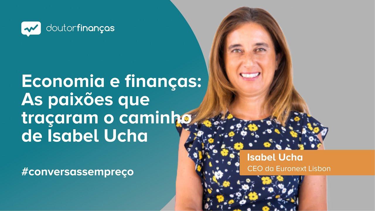 Imagem de um smartphone onde se vê o programa Conversas sem Preço com a entrevista a Isabel Ucha, CEO da Euronext Lisbon