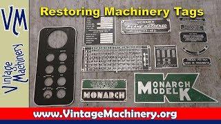 Restoring Machinery Tags, Plates & Badges