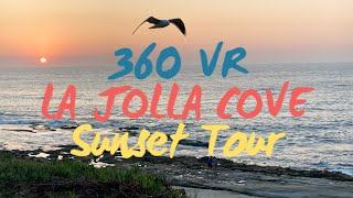 360° VR Beautiful La Jolla Cove Sunset Travel Tour | San Diego, CA