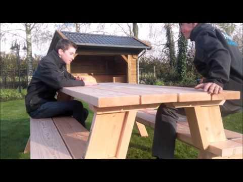 Douglas inklapbare picknicktafel, tuinbank, picknickset 3 in 1 model ⋆ HAVA