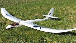 E-flite Night Radian RC Glider - Flite Test 2M Glow In The Dark Powered Sailplane Maiden Flight