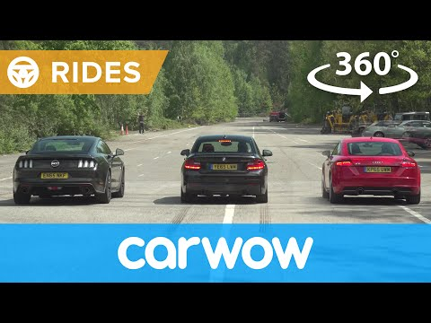 Ford Mustang V8 v Audi TT v BMW M235i 360 degree DRAG RACE | Head-to-Head