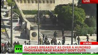 BREAKING NEWS Athens Clashes LIVE_ RT At Greece Massive Protest Showdown