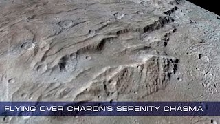 Flying over Charon's Serenity Chasma