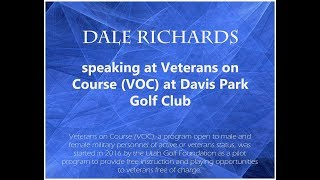 Dale Richards speaking at  Veterans on Course (VOC) at Davis Park Golf Club