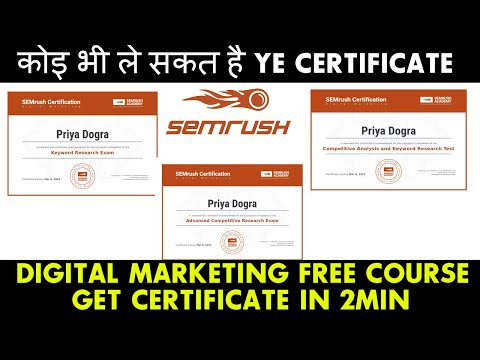 Digital Marketing Certificate | Semrush Free Courses with ... - YouTube