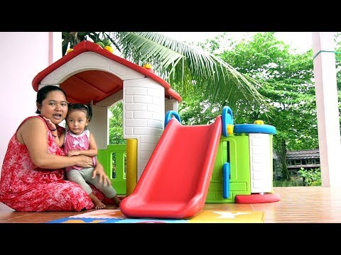 Unboxing Mainan Anak Playhouse with Slide - Rumah rumahan dengan perosotan - Playground mini