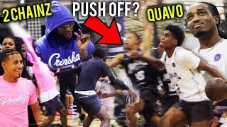 Quavo HYPE at Julian Newman VS Josh Christopher and Kyree Walker! Quavo and 2 Chainz COACHING!!
