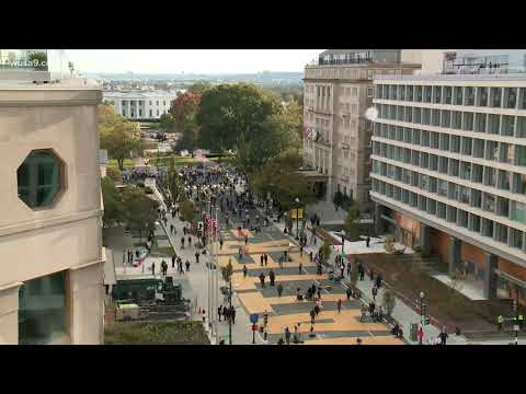 Crowds Gather At Black Lives Matter Plaza in DC on Election Day