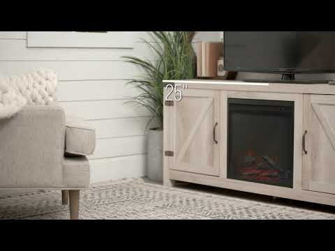 Video for 58-Inch Barn Door Fireplace TV Stand - White Oak