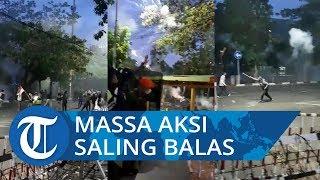 Tembakan Gas Air Mata Polisi Dibalas Massa Aksi dengan Lemparan Petasan hingga Bom Molotov