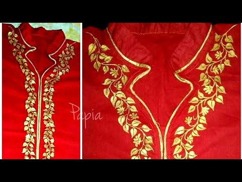 Gold painting on red kurti