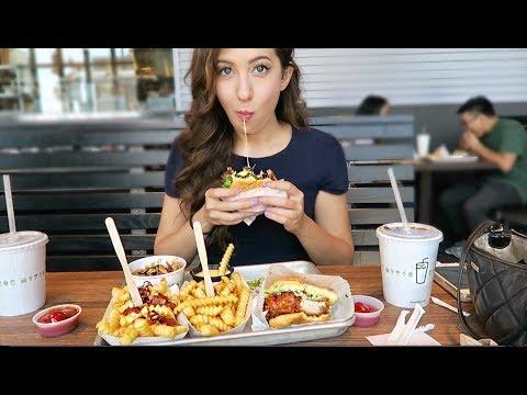 SHAKE SHACK Cheeseburger + Bacon Cheesy Fries! MUKBANG Eating Show VLOG   MEESH LA
