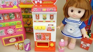 Baby doll and vending machine drinks and food play