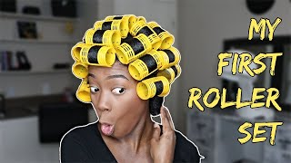 My First Roller Set On My Thick Type 4 Natural Hair | Keke J.
