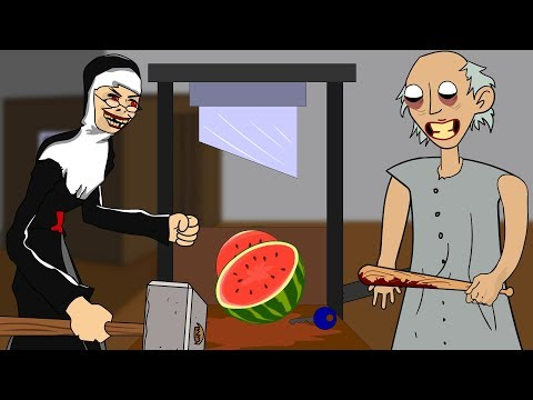 GRANNY THE HORROR GAME ANIMATION #24 : EVIL NUN Vs Scary Granny DAY 4 (видео)