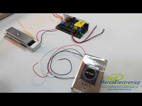 Conexion de Electroiman con Fuente de Control de Acceso y Boton de Salida