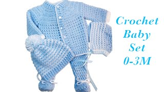 Baby Boy Set: How To Crochet Newborn Bean Stitch Sweater Jacket | Cardigan 0-6M Crochet For Baby#171