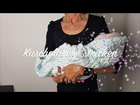 Kuscheldecke stricken für Anfänger | Babydecke stricken Anleitung für Anfänger