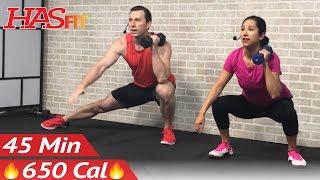 45 Min HIIT Tabata Workout with Weights - Full Body Dumbbell High Intensity Workout at Home Training by HASfit