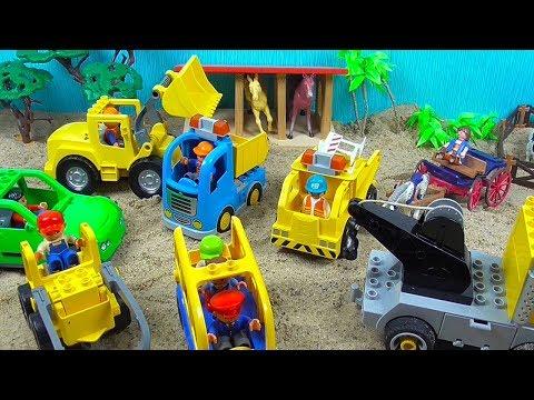 Buntes Spielzeug, Lego Duplo, Bagger, Laster, Transporter, Schulbus, Werkstatt, Abschleppauto