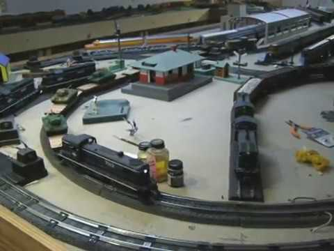 Jeff's train of S scale Army tanks on his S gauge layout, July 23, 2018