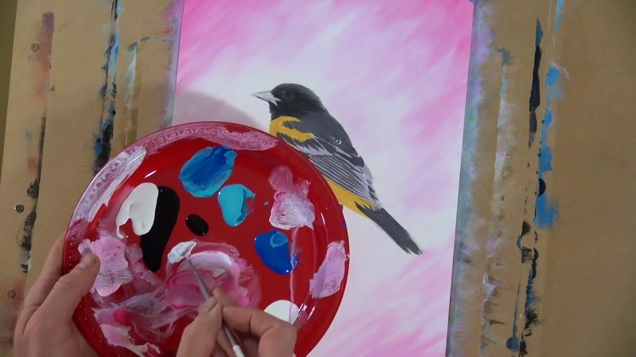 how to paint a realistic bird with acrylic by chuck black art