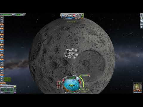 Kerbal Space Program - Landing On Mun Using Only Solid Rockets - Now With Moar Boosters.