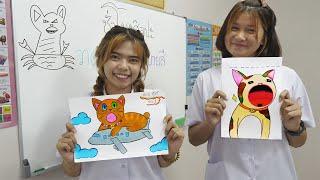 หนังสั้น   วาดภาพ+ภาพระบายสี ป๊อปแคท   Drawing + coloring Pop-CAT