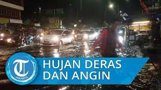 Hujan Deras Disertai Angin Kencang akibatkan Banjir dan Macet Panjang di Jl Arif Rahman Hakim Depok