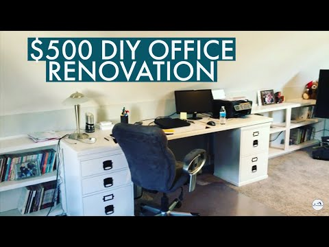 AMAZING $500 Office Transformation | Office Renovation with Built-in Desk and Bookshelves
