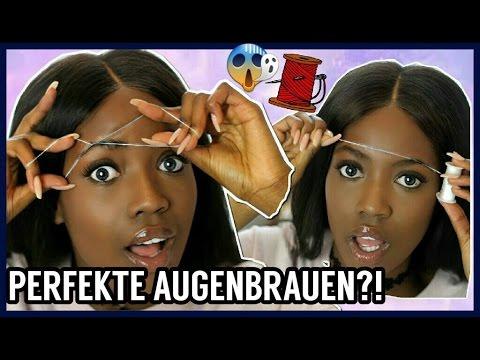 AUGENBRAUEN zupfen mit FADEN  Beauty Hack Live Test   Neue Augenbrauen Routine?