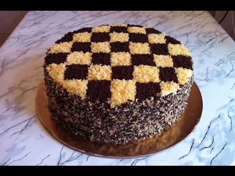 Как приготовить шахматный тортик