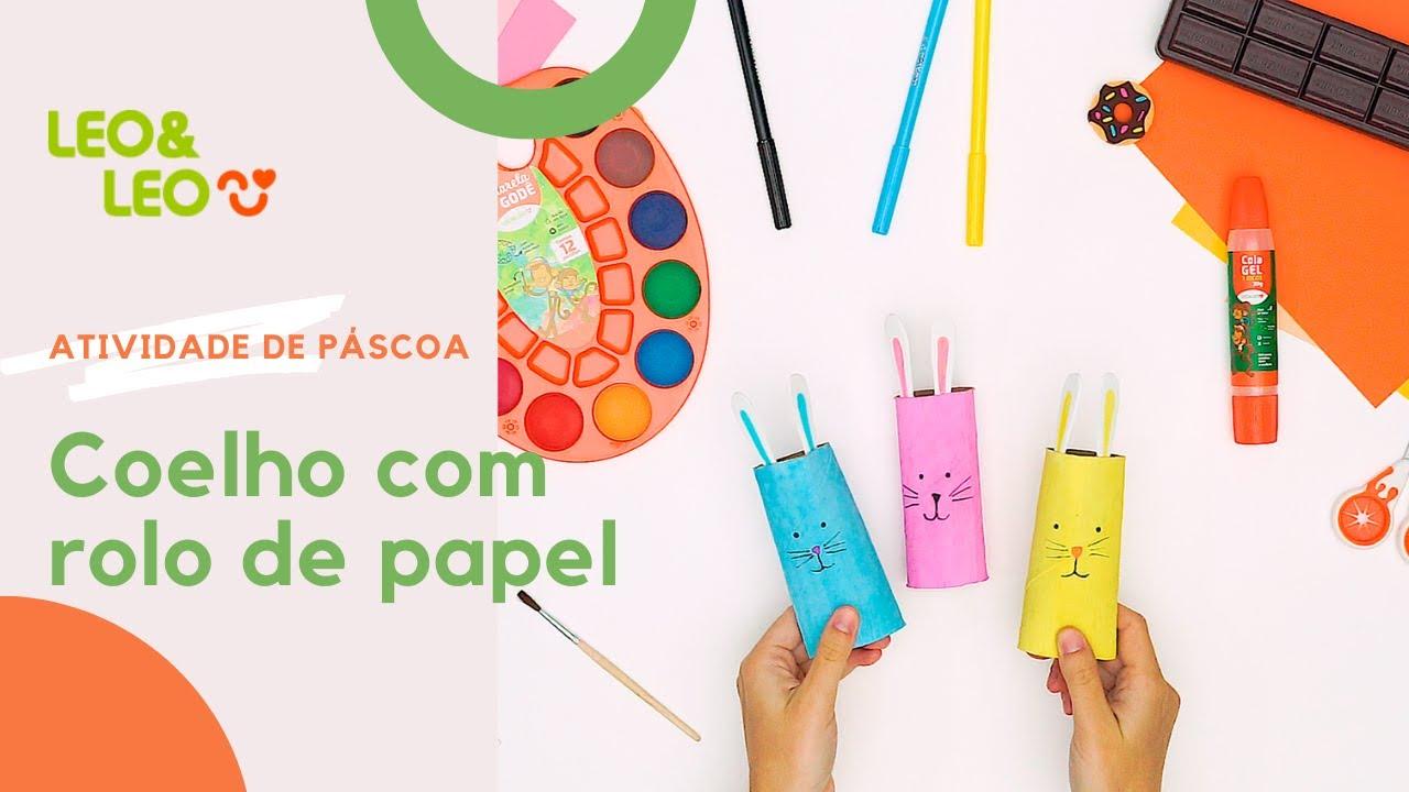 Atividade: Coelho com rolo de papel para Páscoa
