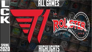 T1 vs KT Highlights ALL GAMES | LCK Spring 2020 W8D3 | T1 vs KT Rolster