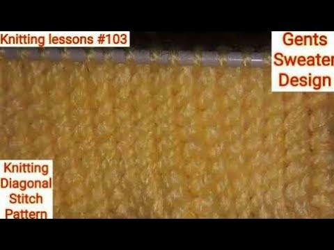 Single Colour Knitting Diagonal Stitch Pattern Gents Sweater Design