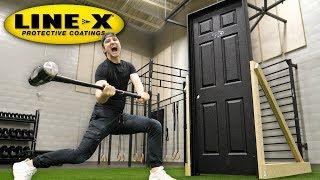THIS SPRAY MAKES ANY DOOR UNBREAKABLE!! (LINE-X UNBREAKABLE DOOR EXPERIMENT)