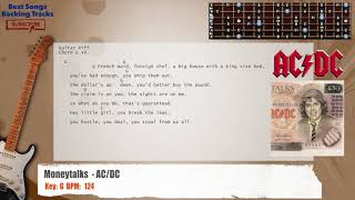 Moneytalks  - AC/DC Guitar Backing Track with chords and lyrics