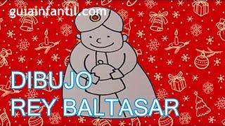 Dibujo infantil de Navidad. Rey Mago Baltasar