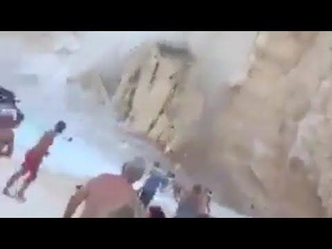 Скала падна на Закинтос и рани най-малко 7 души (видео)