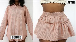 DIY Tiered Ruffle Mini Skirt | Mens Shirt Refashion