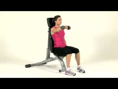 Weightplan.com exercise - Dumbbell Seated Front Raise - Shoulders (Female)