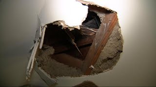 Did Falling Ice from a Plane Cause This Hole in Homeowner's Roof?