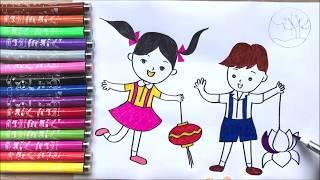 Đồ chơi trẻ em, TÔ MÀU BÉ VUI TRUNG THU - Coloring mid-autumn festival, learn colors (Chim Xinh)
