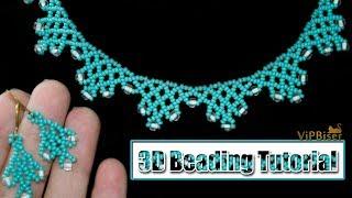 Ожерелье из бисера,с бисером Preciosa.3D Урок.