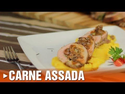 Carne Assada Recheada ao Molho de Alecrim