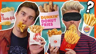 BLINDFOLD FRENCH FRY CHALLENGE w/MatPatGT - Video Youtube