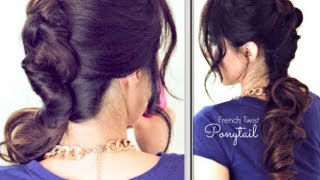 ★ EVERYDAY FRENCH TWIST-AROUND PONYTAIL HAIRSTYLE   CUTE UPDOS FOR MEDIUM LONG HAIR TUTORIAL