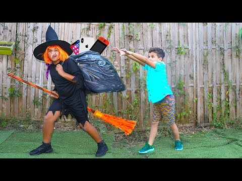 witch and children pretend play funny videos for kids